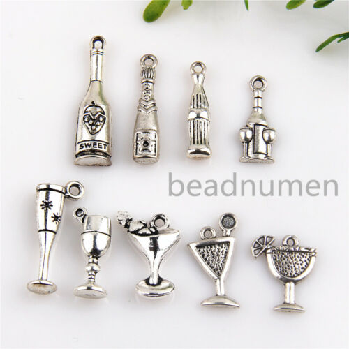 9Pcs Mix Cocktail cup Bottle Antique Silver Charms For DIY Making