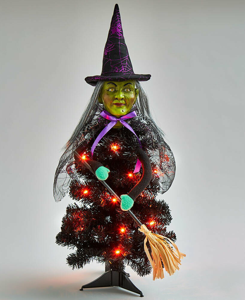 WITCH HALLOWEEN LED LIGHTED TREE INDOOR OR COVERED OUTDOOR PORCH DECOR