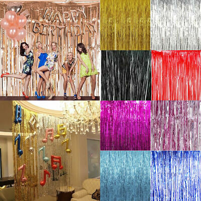 1-2M Self Adhesive Foil Fringe Tinsel Shimmer Curtain Happy Birthday Party Door