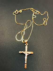 Zarte Venezianerkette mit Kreuzanhänger 585 14K ECHT GOLD 45cm NEUWERTIG