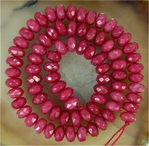 Natural-5x8mm-Faceted-Brazil-Ruby-Abacus-Gemstone-Loose-Beads-15-034-AAA
