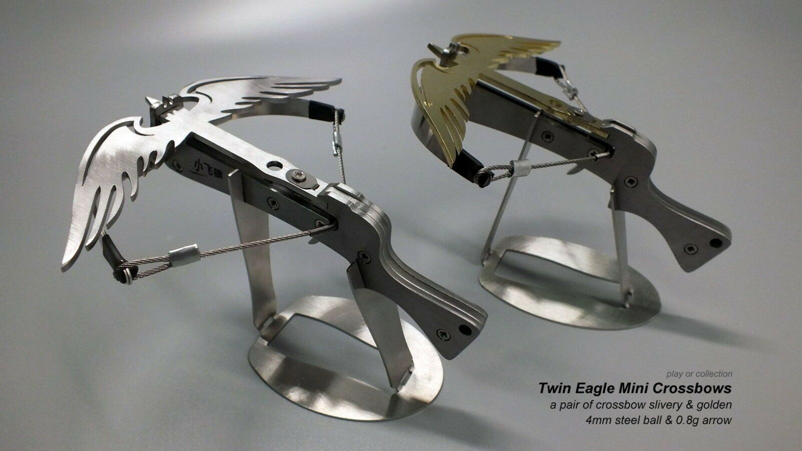 Twin Eagle Mini Crossbow Full Stainless Steel ammo Arrow & Ball - Two crossbows