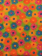 """Crazy Daisy Cotton Fabric Bright Blue Orange Pink Yellow Daisies on Green 31"""""""