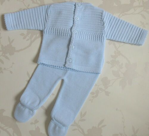 pale blue NEW STOCK Portuguese baby boys Knitted 2 Piece Set