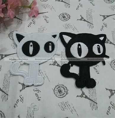 New 2 Pcs Cute Black and White Cat Iron On Applique S7