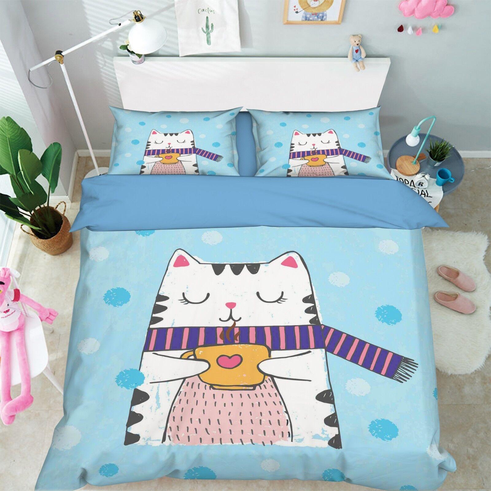 3D Cartoon Cat 669 Bed Pillowcases Quilt Duvet Cover Set Single King UK Summer