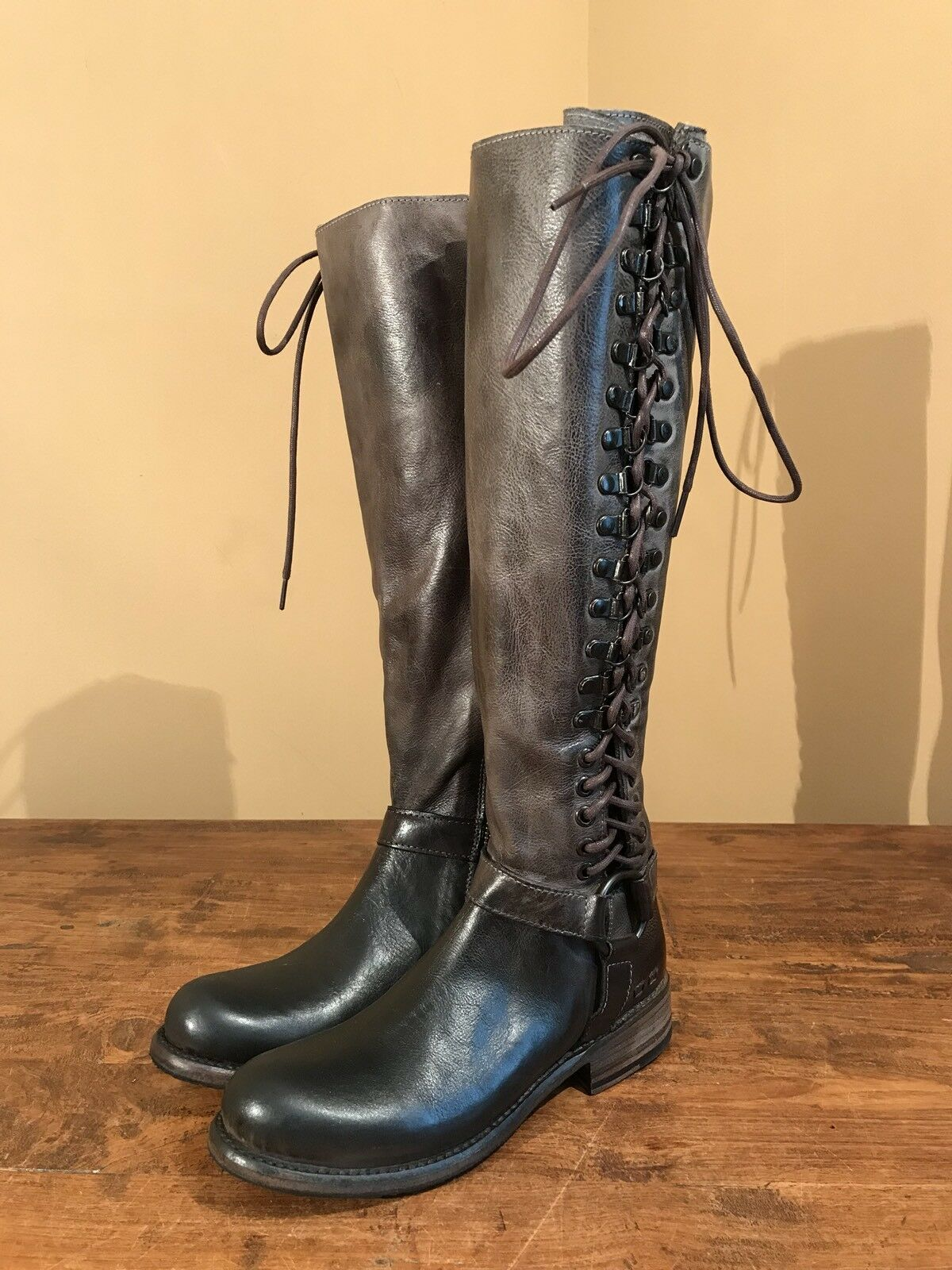 New Bed Stu Burnley Womens Tall Riding Lace Up Campus Boots Cobbler Size 6  2