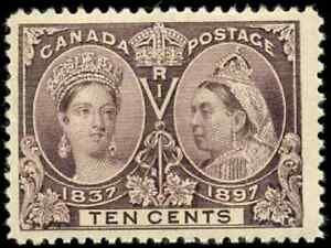 Canada-57-mint-F-VF-OG-NH-1897-Queen-Victoria-10c-brown-violet-Diamond-Jubilee