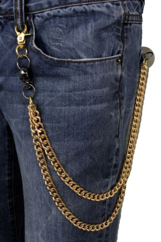 Men Gold Metal Wallet Chain KeyChain Biker Jeans Rocker 2 Strands Skull Charms