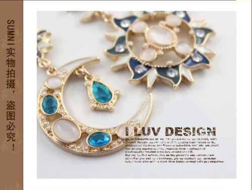 Boucles d/'Oreilles Clous Doré Soleil Lune Etoile Bleu Email Marine Baroque XX 8
