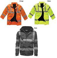 Hi Viz Visibility Road Traffic Safety Bomber High Vis Jacket Coat Work Wear