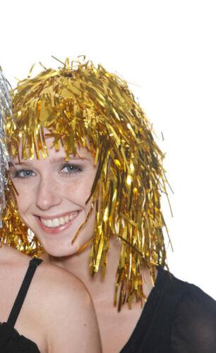 Vestido de lujo hoja de oro Oropel fiesta de la peluca