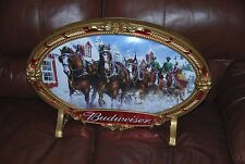 Rare 2000 Budweiser Clydesdale's Double Sided Oval Sign with Bar Legs