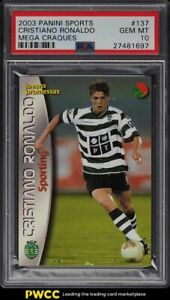 2003-Panini-Sports-Mega-Craques-Cristiano-Ronaldo-ROOKIE-RC-137-PSA-10-GEM-MINT