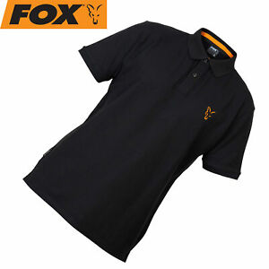 Fox-Collection-Black-Orange-Polo-Shirt-Poloshirt-Angelkleidung-Polohemd