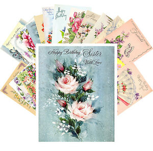 Postcards-Pack-24-cards-Vintage-Greeting-Cards-Happy-Birthday-Roses-CE5021