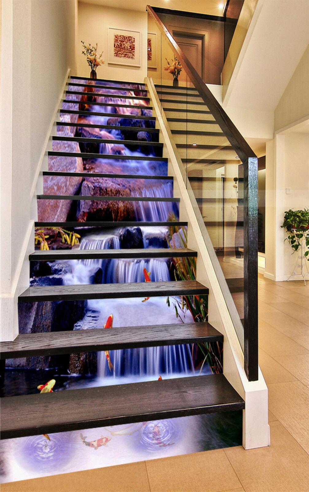 3d poisson rivière 2589 Stair Risers Décoration Papier Peint Vinyle Autocollant Papier Peint De