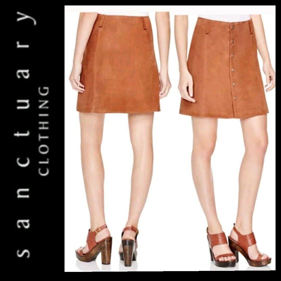 189 Sanctuary Dark Brown Leather A-Line Snap Front Mini Skirt   M  M3020
