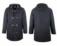 Quality Wool Mens Warm Duffle Coat S-3xl Full Length Hooded Duffel Jacket Hood