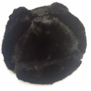 f273ac16605 Bomber Trapper Men s Russian Winter Faux Mink Fur Pilot Aviator Ear ...