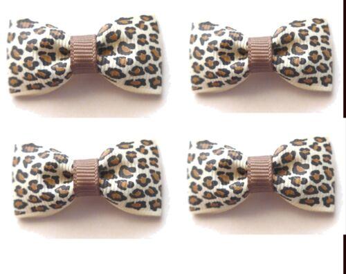 Animal Print Grosgrain or Satin Ribbon Bows 4.5cm Natural or Black and White