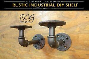 Pair-2x4-034-L-Brackets-DIY-Pipes-8-034-10-034-deep-shelf-urban-steampunk-rustic-decor