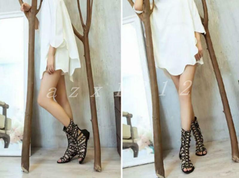 donna Hollow Out Out Out Rivet New Gladiator Sandal Leather Ankle Knee High scarpe stivali dcb2b4
