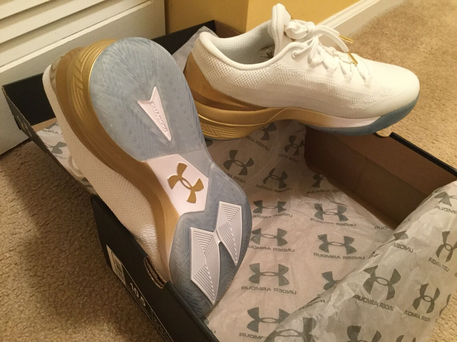 under armour charged 10.5 controller curry gold white 10.5 charged shoes ca14eb