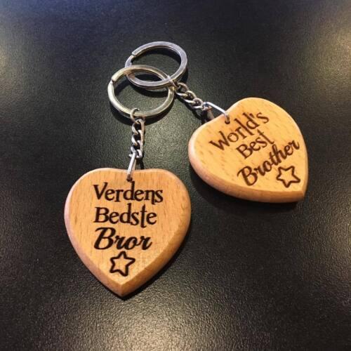 DANISH Personalised Engraved Wooden Keyring Keychain Grandad Dad Birthday Gift