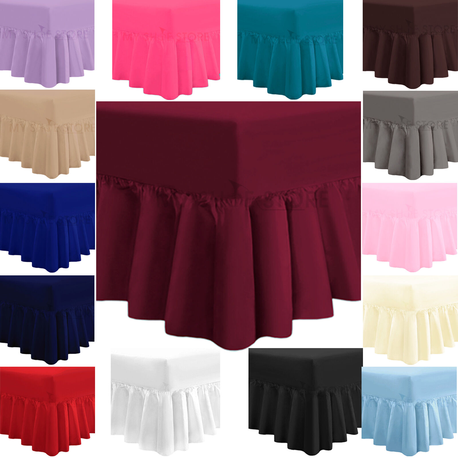 Plain Dyed Fitted Valance Box Bed Sheet Luxury Poly Cotton