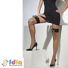 BLACK DIAMOND NET HOLD UPS STOCKINGS WITH CAMO BOWS ladies womens hosiery