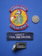 Civil Air Patrol - Florida Wing Embroidered Patches Lot of 3 - 1970s