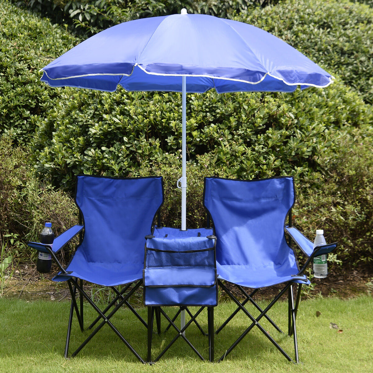 Travel Folding Picnic BBQ Double Chair W Umbrella  Table Beach Camping Portable  shop now