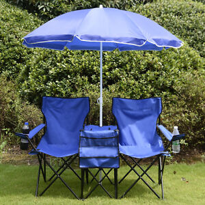 Portable Folding Picnic Double Chair W Umbrella Table