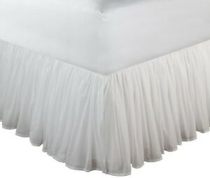 Full Size White Bed Skirt Drop Easy Fit Cotton Wrap Around Dust