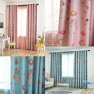 Unicorn Candy Blockout Eyelet Curtains Set Girls Boys Childrens Kids Room Ebay