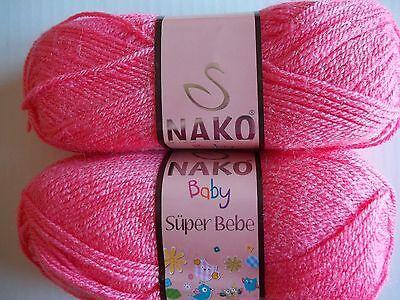 lot of 2 #23072 Baby Blue 198 yds ea Nako Baby Super Bebe yarn