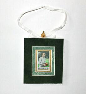Knute-Rockne-Hand-Crafted-Velvet-Framed-USA-Stamp-Christmas-Tree-Ornament