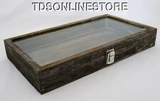 Rustic Wood Glass Top Display Case Antique Coffee Color