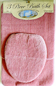 Image Is Loading 3 Piece Bath Rug Set Pink Bathroom Mat