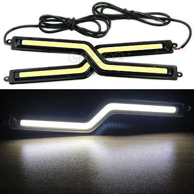 2x 12V Super Bright White Car COB LED Lights -DRL Fog Driving Lamp Waterproof DC