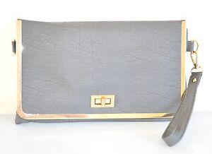 BORSELLO-GRIGIO-borsa-pochette-donna-eco-pelle-oro-tracolla-a-mano-spalla-sac-Z1