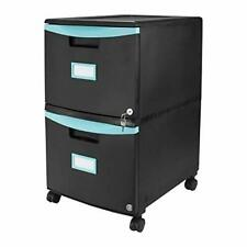 Storex Plastic 2 Drawer Mobile File Cabinet All Steel Lock And Key Blackteal