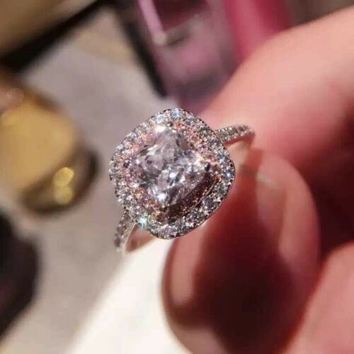 3ct Square Women/'s Pink/&White Wedding AAA CZ 925 Silver Engagement Ring Sz 4-9.5