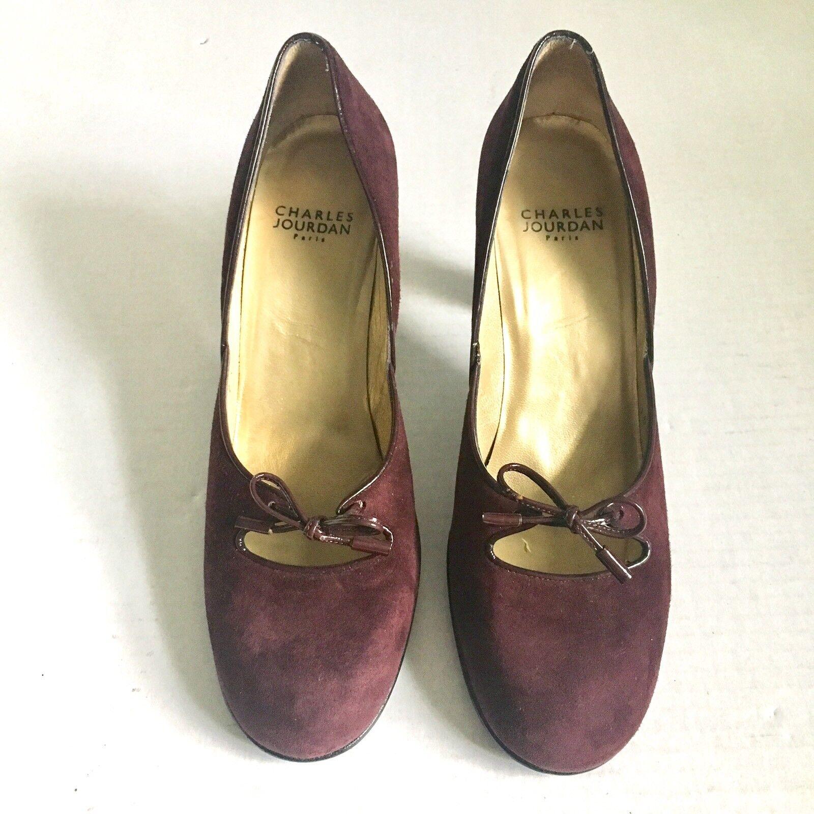 Charles Jourdan Paris Tacones Gamuza Marrón Marrón Marrón Cuero Patente Arco De Colección Zapatos Francia 7 M  tomamos a los clientes como nuestro dios