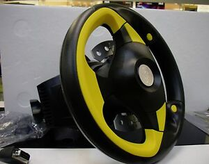New-RARE-Saitek-R80-J37-Steering-Wheel-Yellow-Black-with-PCI-Game-Sound-Card