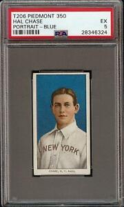 Rare 1909-11 T206 Hal Chase Blue Portrait Piedmont 350 New York PSA 5 EX