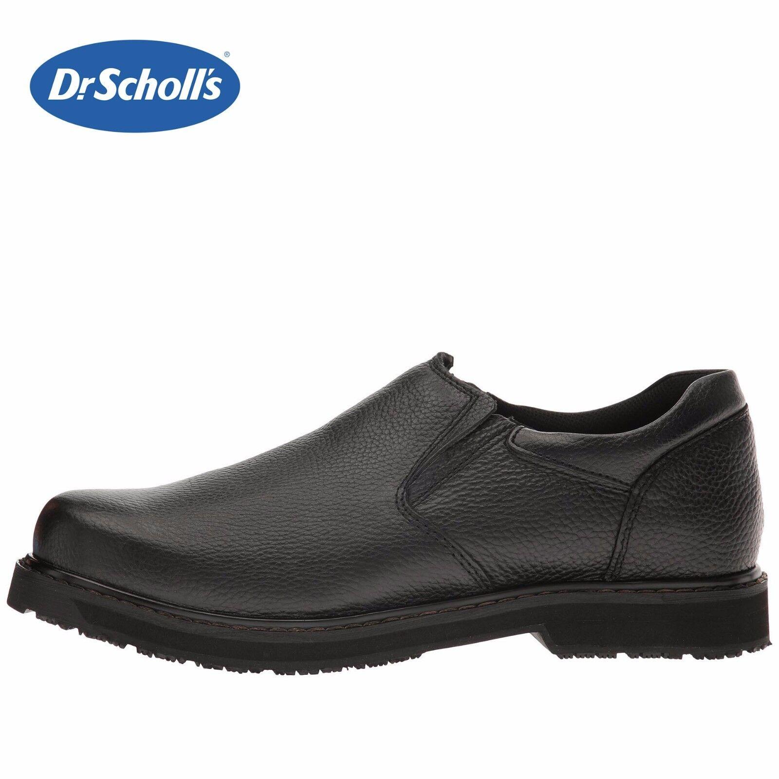 Mens Dr. Scholl's Winder II Work Loafer Memory Foam BLK Leather Slip-Resist NIB