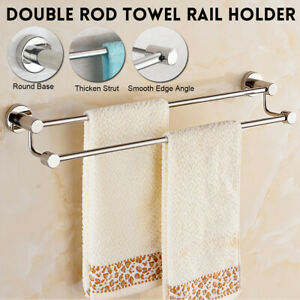 60cm Double Rod Towel Rail Rack Storage Holder Wall ...
