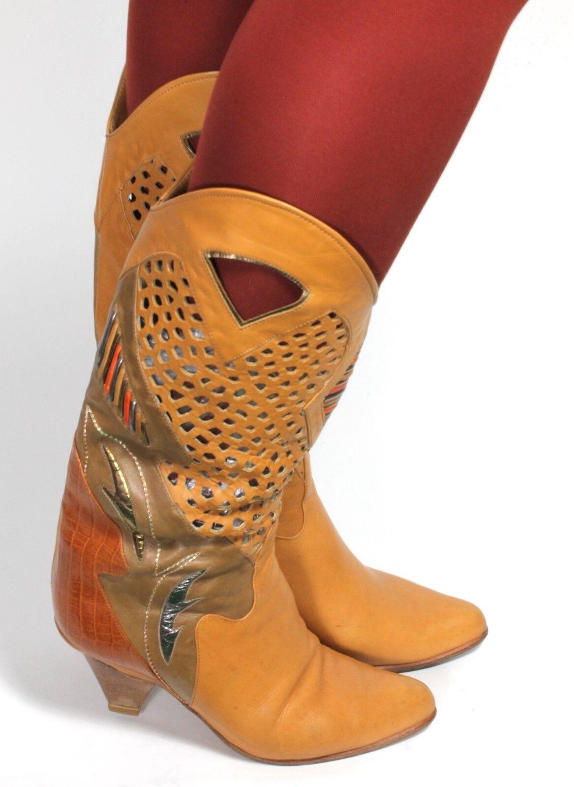 Señora botas vintage botas de cuero blogueros metalizado glam agujero patrón tolin 35